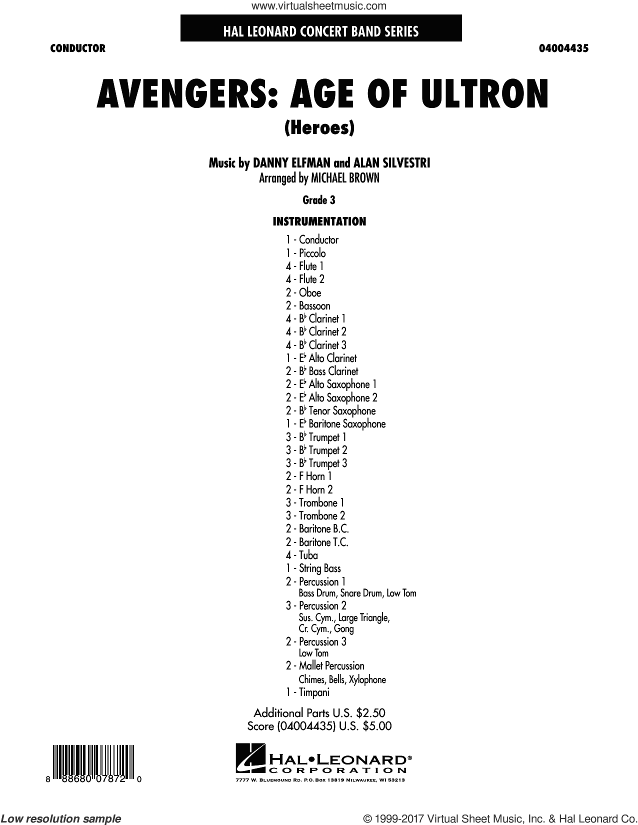 Avengers: The Age of Ultron (Main Theme) (COMPLETE) sheet music for concert band by Michael Brown, Alan Silvestri and Danny Elfman, intermediate skill level