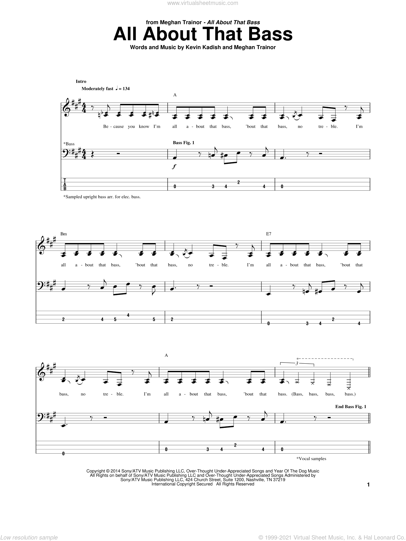 All About That Bass sheet music for bass (tablature) (bass guitar) by Meghan Trainor and Kevin Kadish. Score Image Preview.