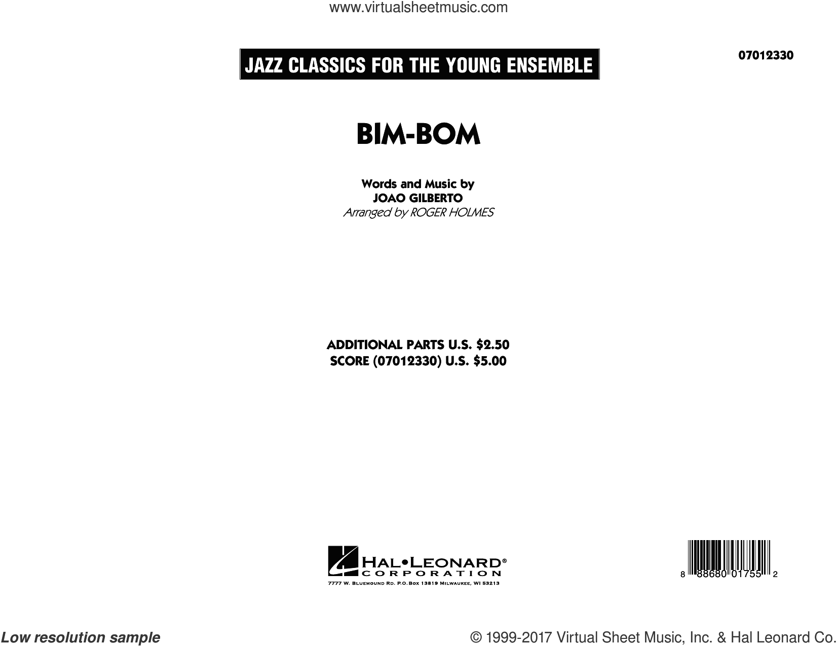 Bim-Bom (COMPLETE) sheet music for jazz band by Roger Holmes and Joao Gilberto, intermediate skill level