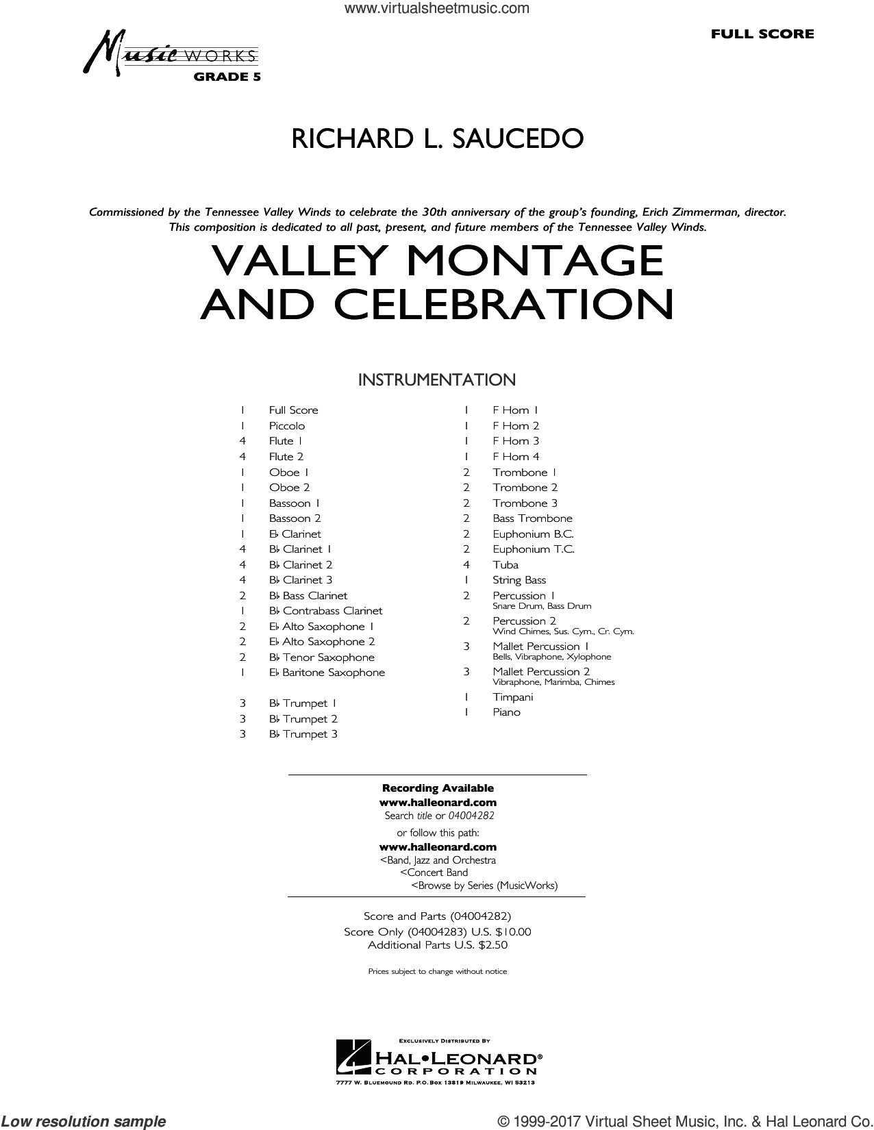 Valley Montage and Celebration (COMPLETE) sheet music for concert band by Richard L. Saucedo, intermediate concert band. Score Image Preview.