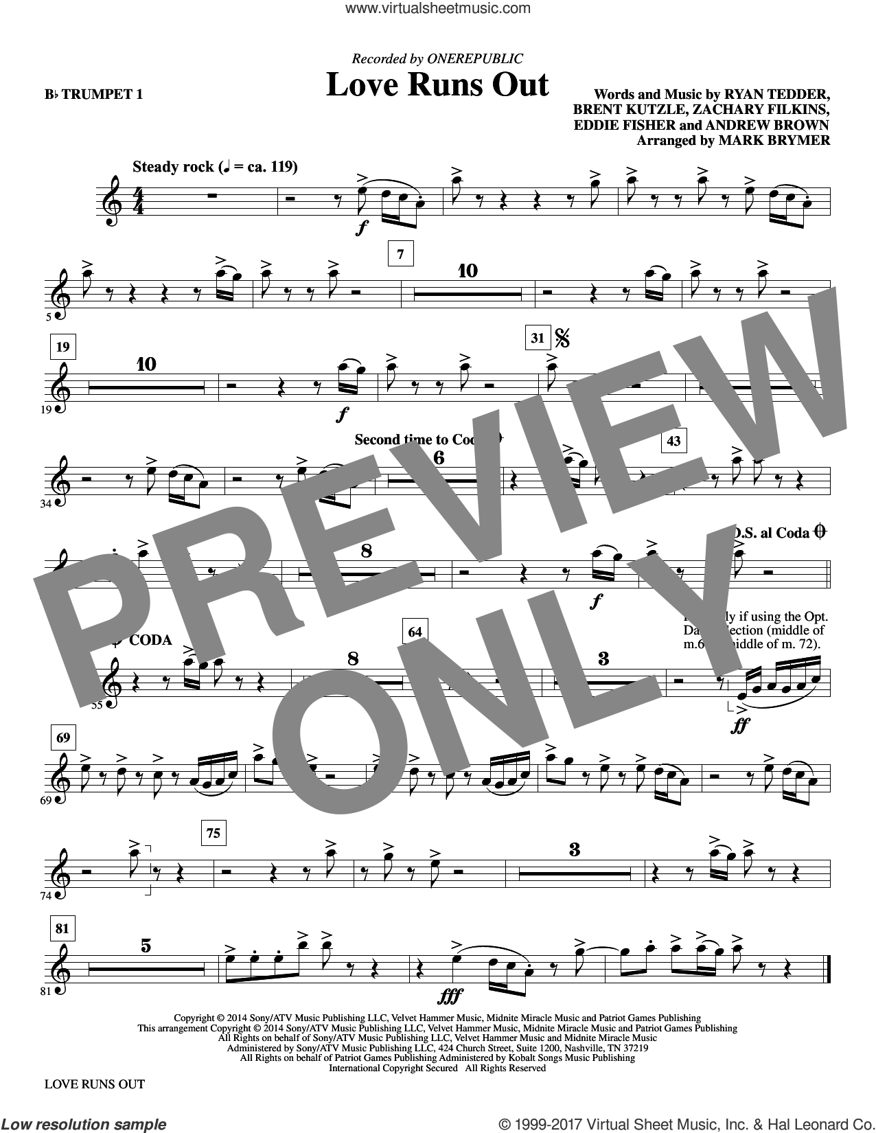 Love Runs Out (complete set of parts) sheet music for orchestra/band by Mark Brymer, Andrew Brown, Eddie Fisher, OneRepublic and Ryan Tedder, intermediate orchestra/band. Score Image Preview.