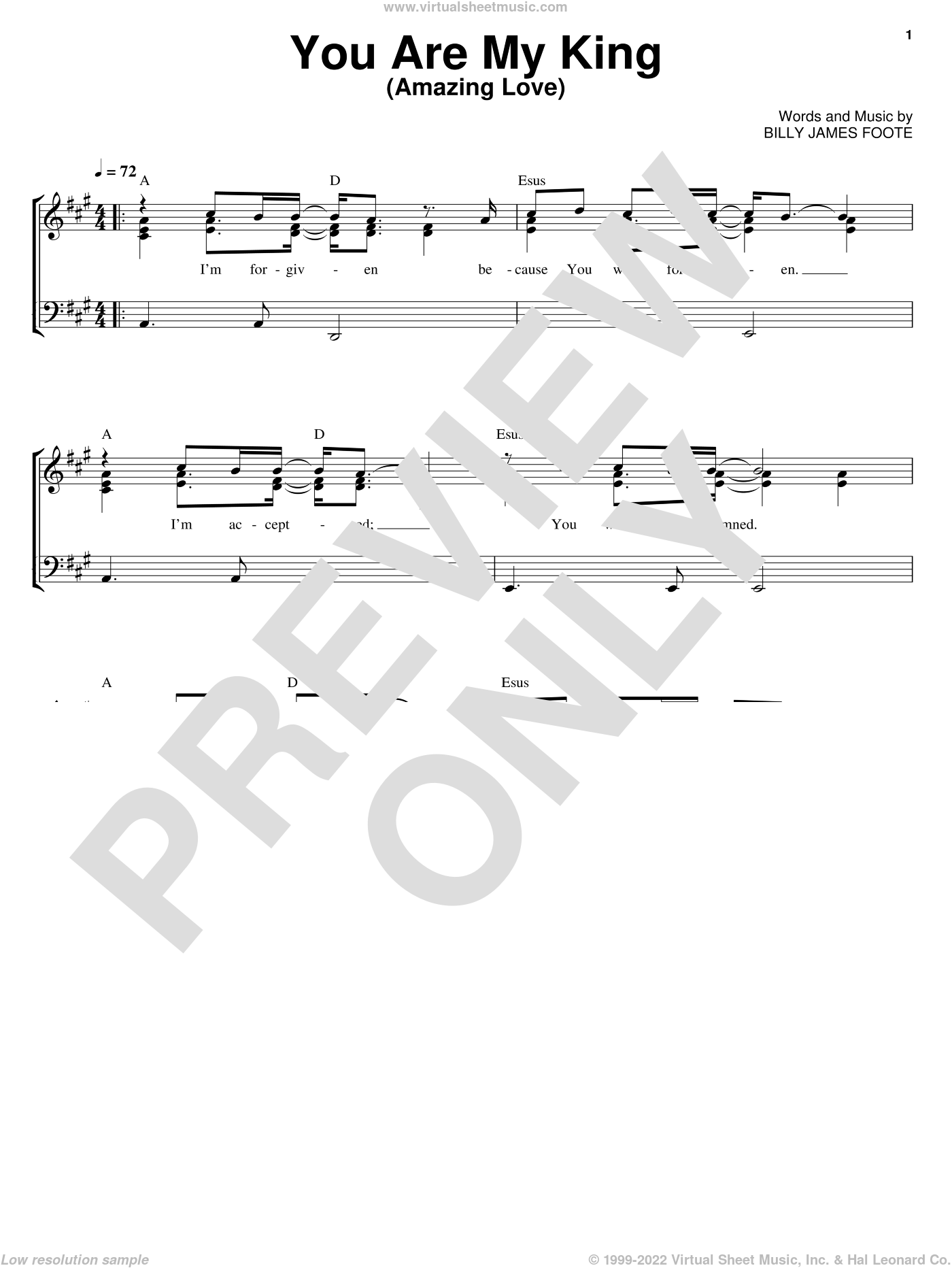 You Are My King (Amazing Love) sheet music for voice, piano or guitar by Newsboys and Billy Foote. Score Image Preview.