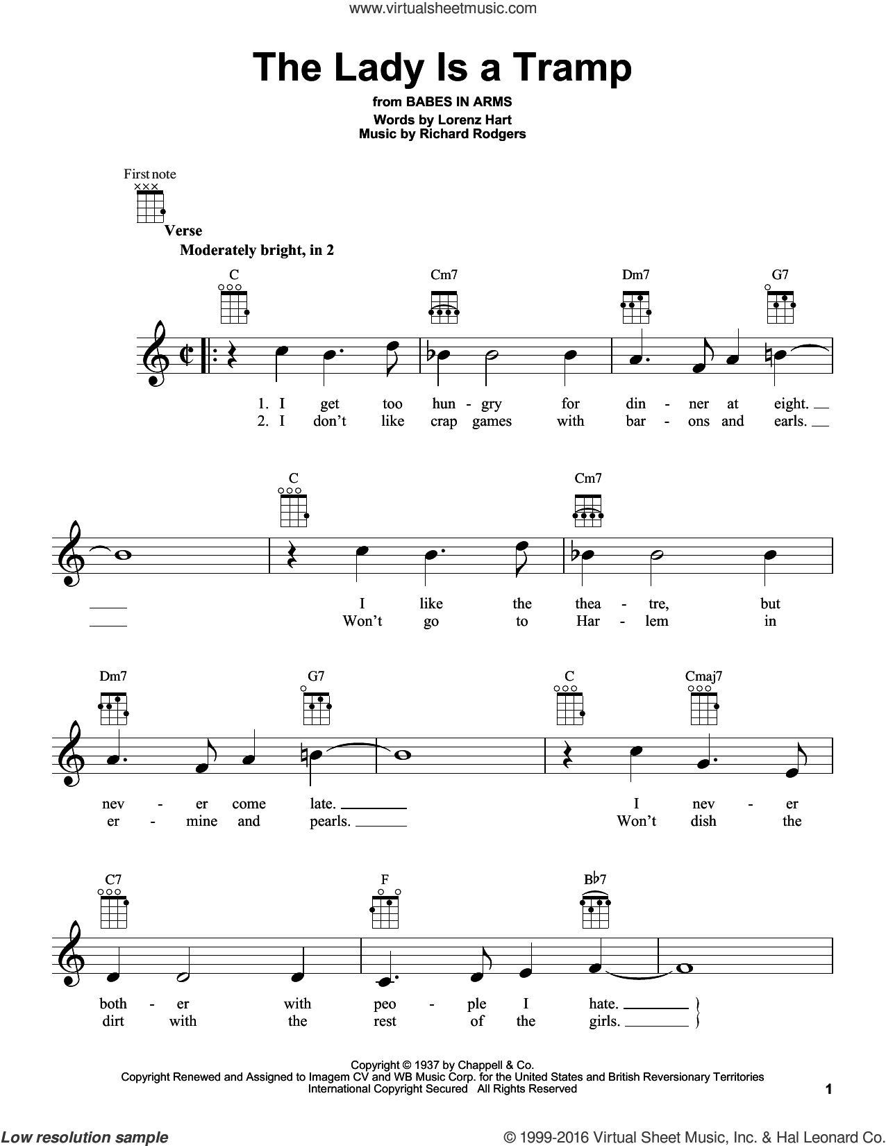 The Lady Is A Tramp sheet music for ukulele by Rodgers & Hart, Lorenz Hart and Richard Rodgers, intermediate skill level