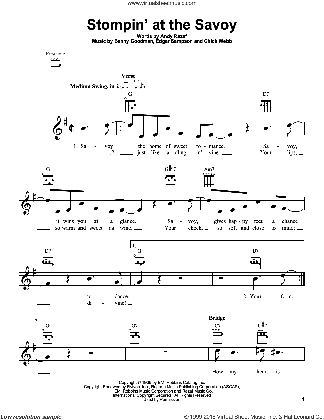 Stompin' At The Savoy sheet music for ukulele by Benny Goodman, Andy Razaf, Chick Webb and Edgar Sampson, intermediate. Score Image Preview.