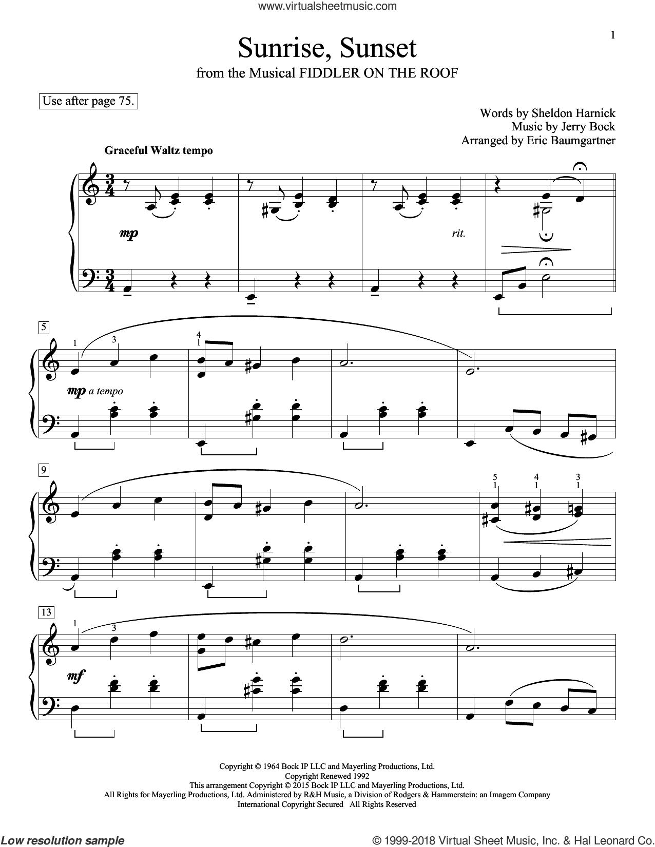 Sunrise, Sunset sheet music for piano solo (elementary) by Jerry Bock, John Thompson, Eric Baumgartner, Glenda Austin and Sheldon Harnick, beginner piano (elementary)
