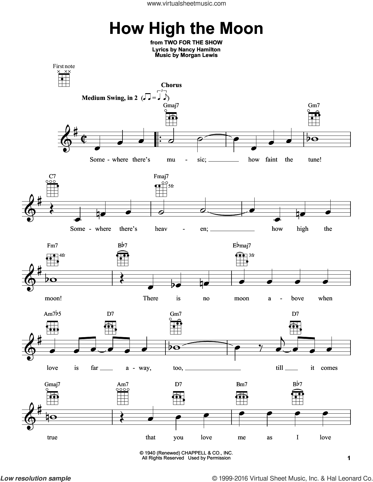 How High The Moon sheet music for ukulele by Morgan Lewis, Les Paul & Mary Ford and Nancy Hamilton, intermediate. Score Image Preview.