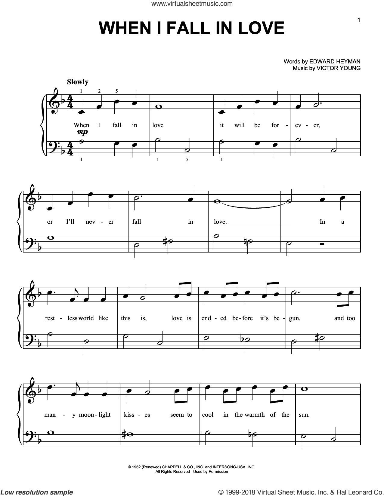 When I Fall In Love sheet music for piano solo by Edward Heyman, Carpenters, Celine Dion and Clive Griffin, The Lettermen and Victor Young, beginner skill level