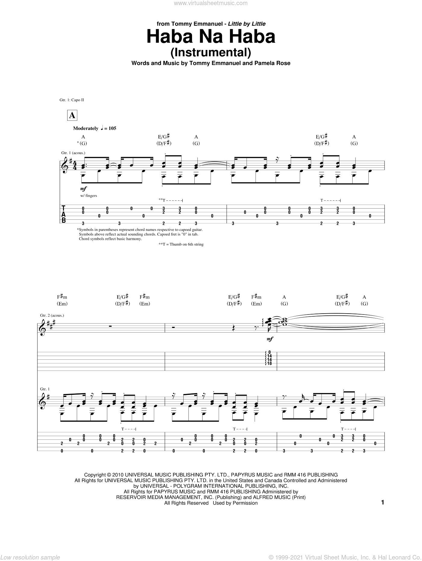 Haba Na Haba sheet music for guitar (tablature) by Tommy Emmanuel. Score Image Preview.