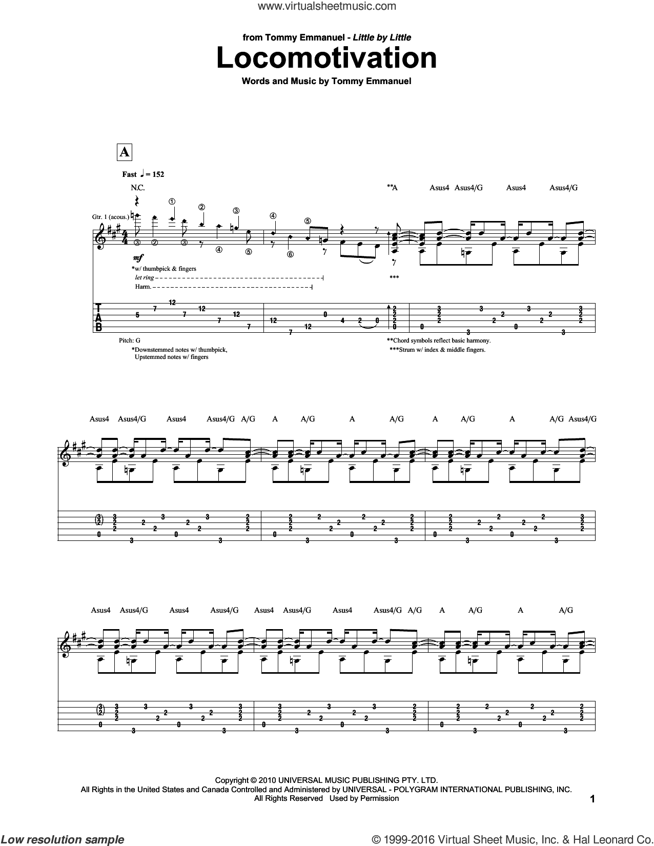 Locomotivation sheet music for guitar (tablature) by Tommy Emmanuel, intermediate. Score Image Preview.