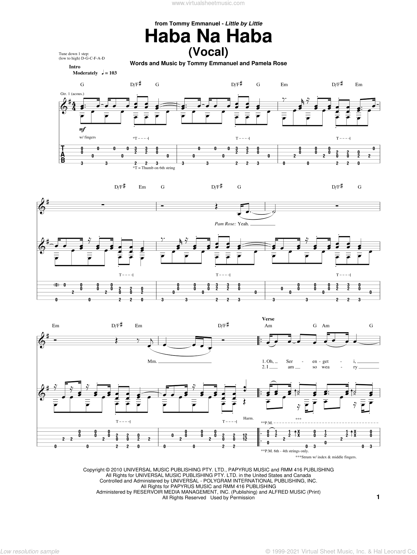 Haba Na Haba sheet music for guitar (tablature) by Tommy Emmanuel and Pamela Rose, intermediate skill level