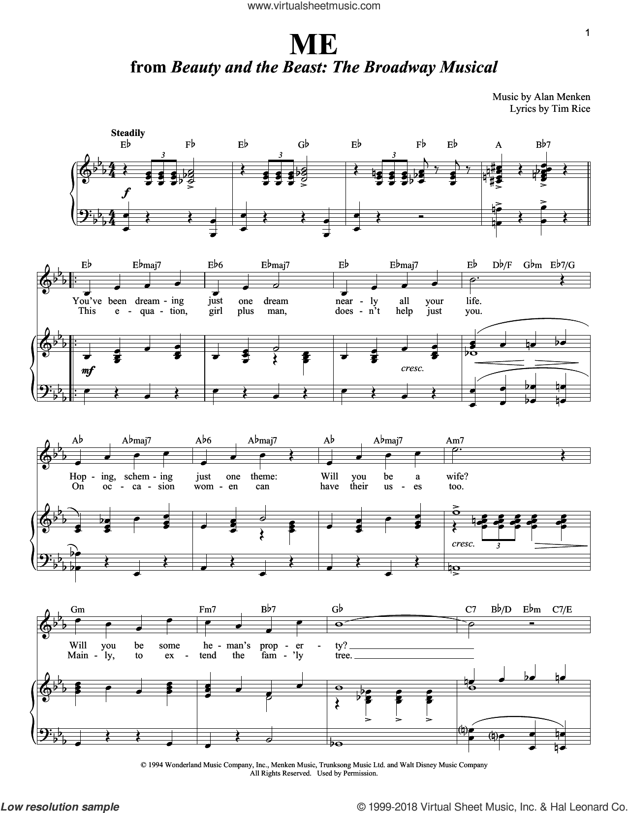 Me sheet music for voice and piano by Alan Menken, Richard Walters and Tim Rice, intermediate skill level