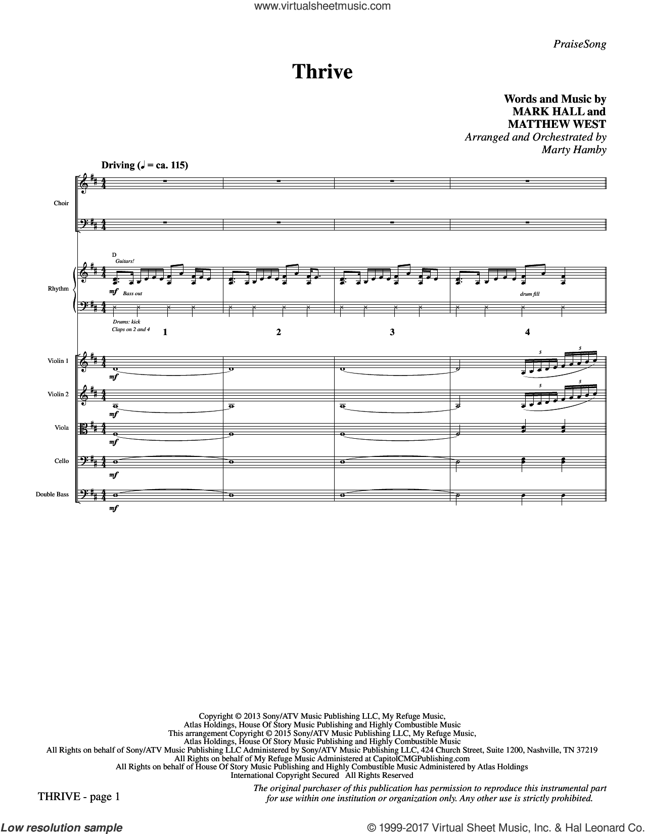 Thrive (COMPLETE) sheet music for orchestra/band by Casting Crowns, Mark Hall, Marty Hamby and Matthew West, intermediate skill level