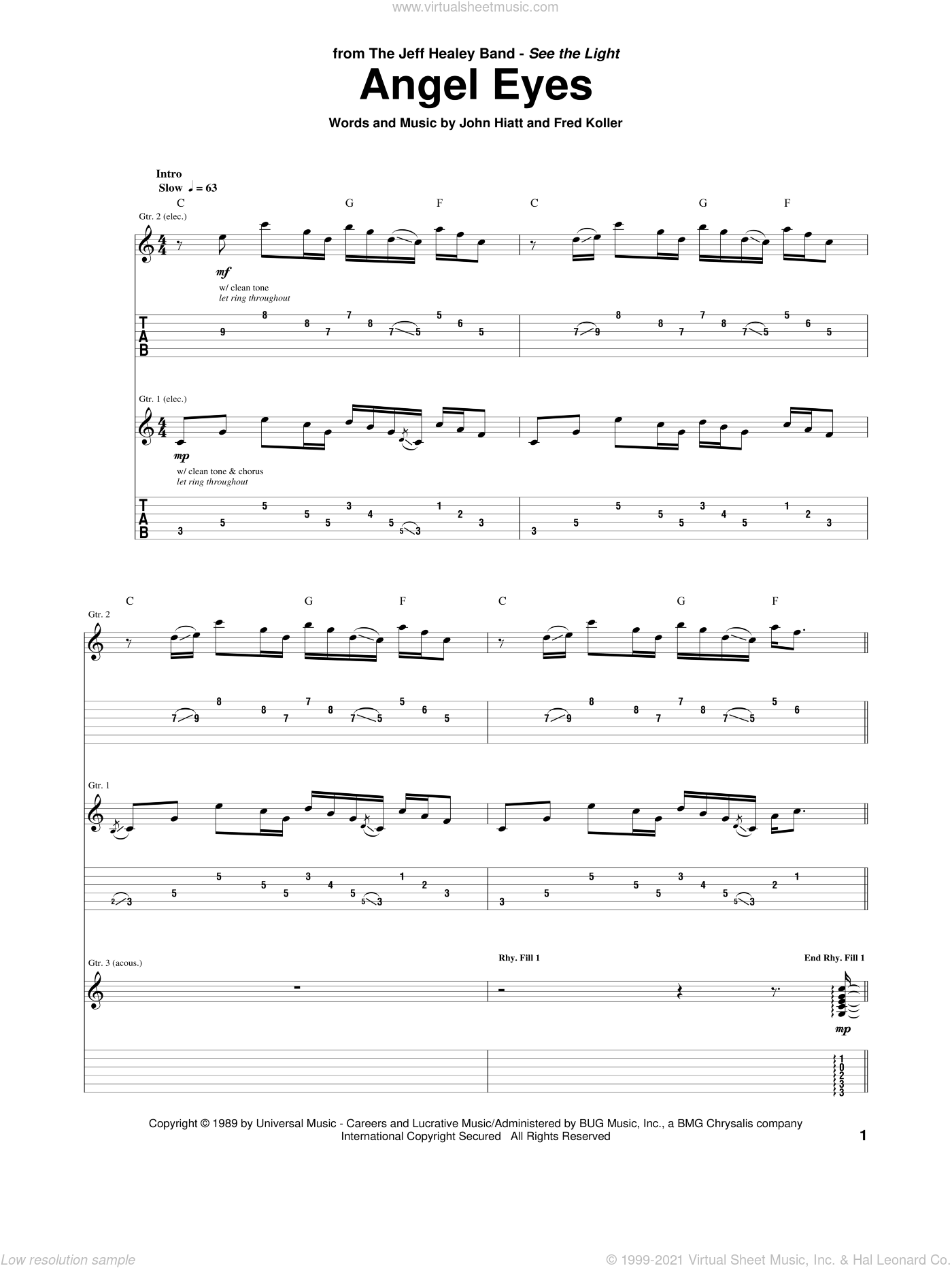 Angel Eyes sheet music for guitar (tablature) by Jeff Healey Band, Fred Koller and John Hiatt, intermediate. Score Image Preview.