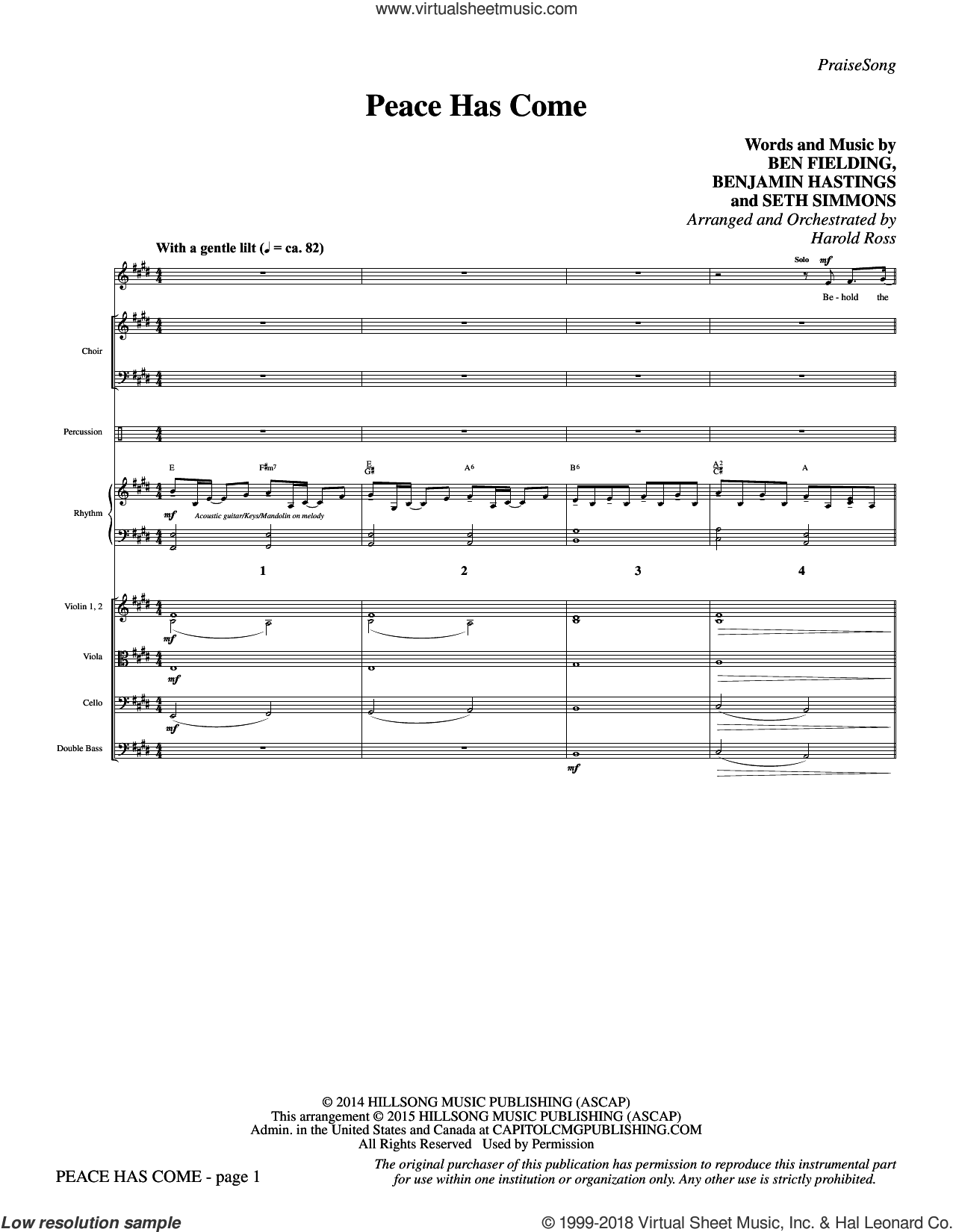 Peace Has Come (COMPLETE) sheet music for orchestra/band by Ben Fielding, Benjamin Hastings, Harold Ross and Seth Simmons, intermediate. Score Image Preview.