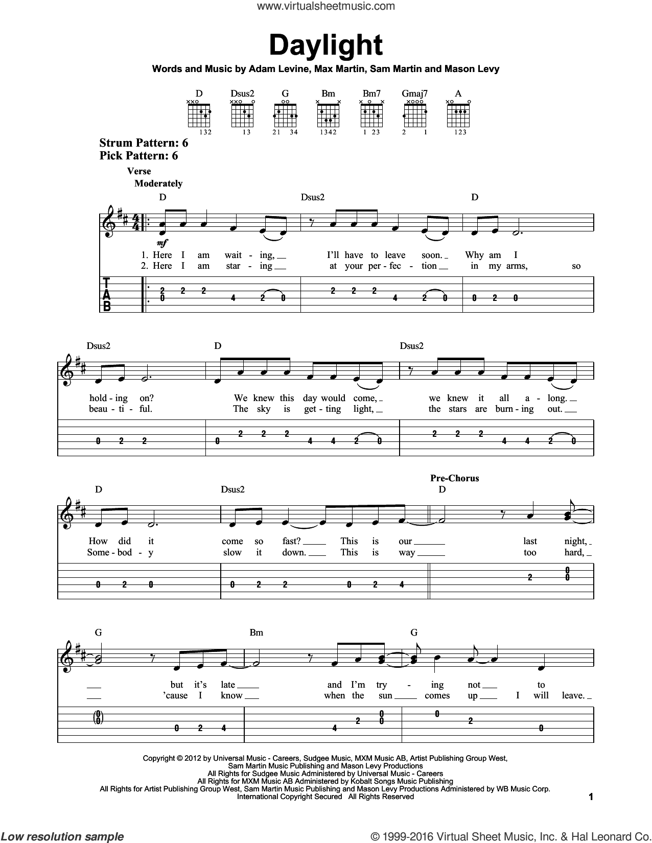 Daylight sheet music for guitar solo (easy tablature) by Maroon 5, Adam Levine, Mason Levy, Max Martin and Sam Martin, easy guitar (easy tablature)