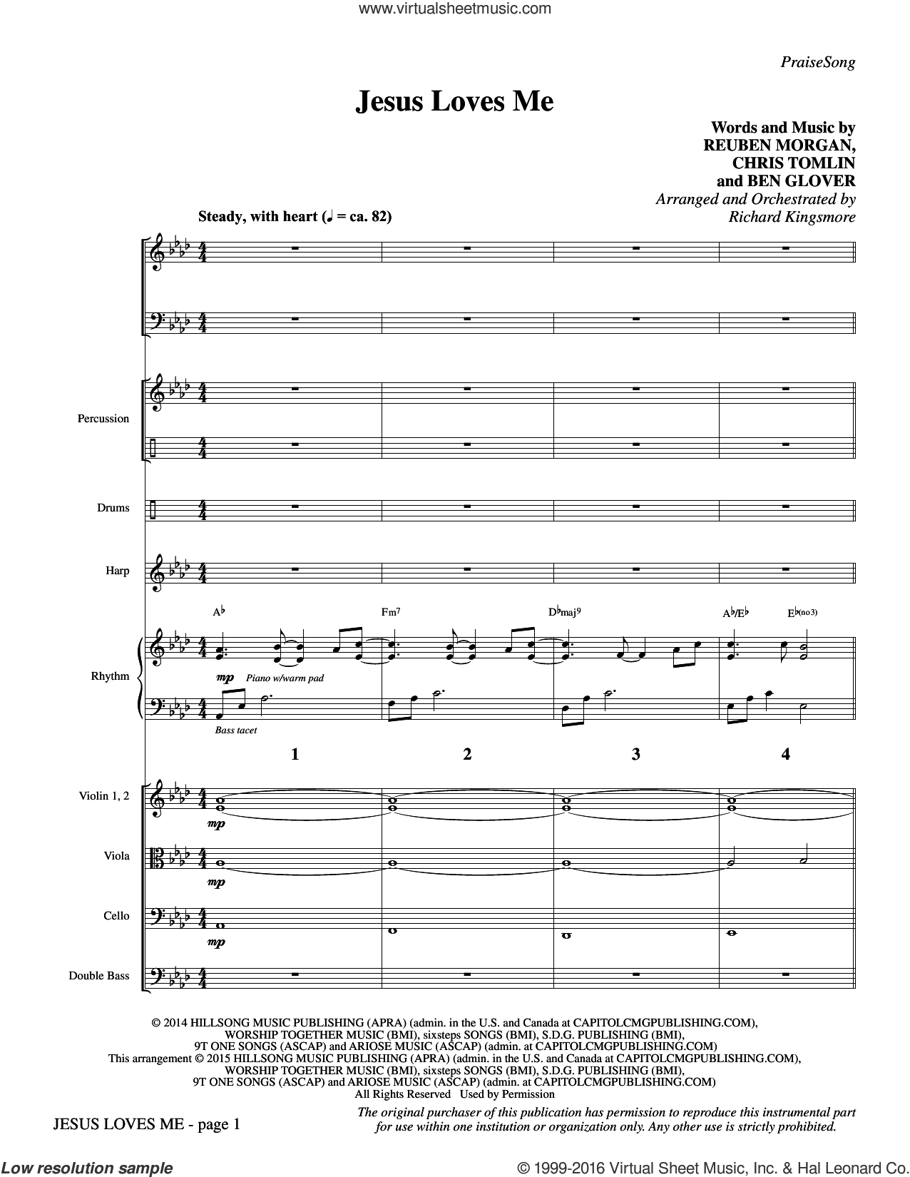 Jesus Loves Me (COMPLETE) sheet music for orchestra by Reuben Morgan, Richard Kingsmore, Ben Glover and Chris Tomlin. Score Image Preview.
