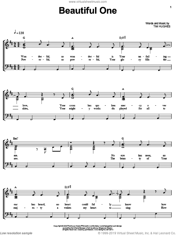 Beautiful One sheet music for voice, piano or guitar by Jeremy Camp and Tim Hughes, intermediate skill level
