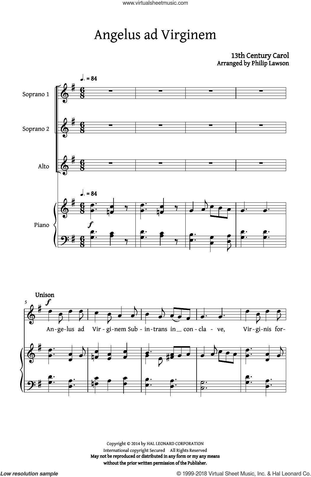 Angelus Ad Virginem sheet music for choir (SSA: soprano, alto) by Philip Lawson and 13th Century Carol, intermediate