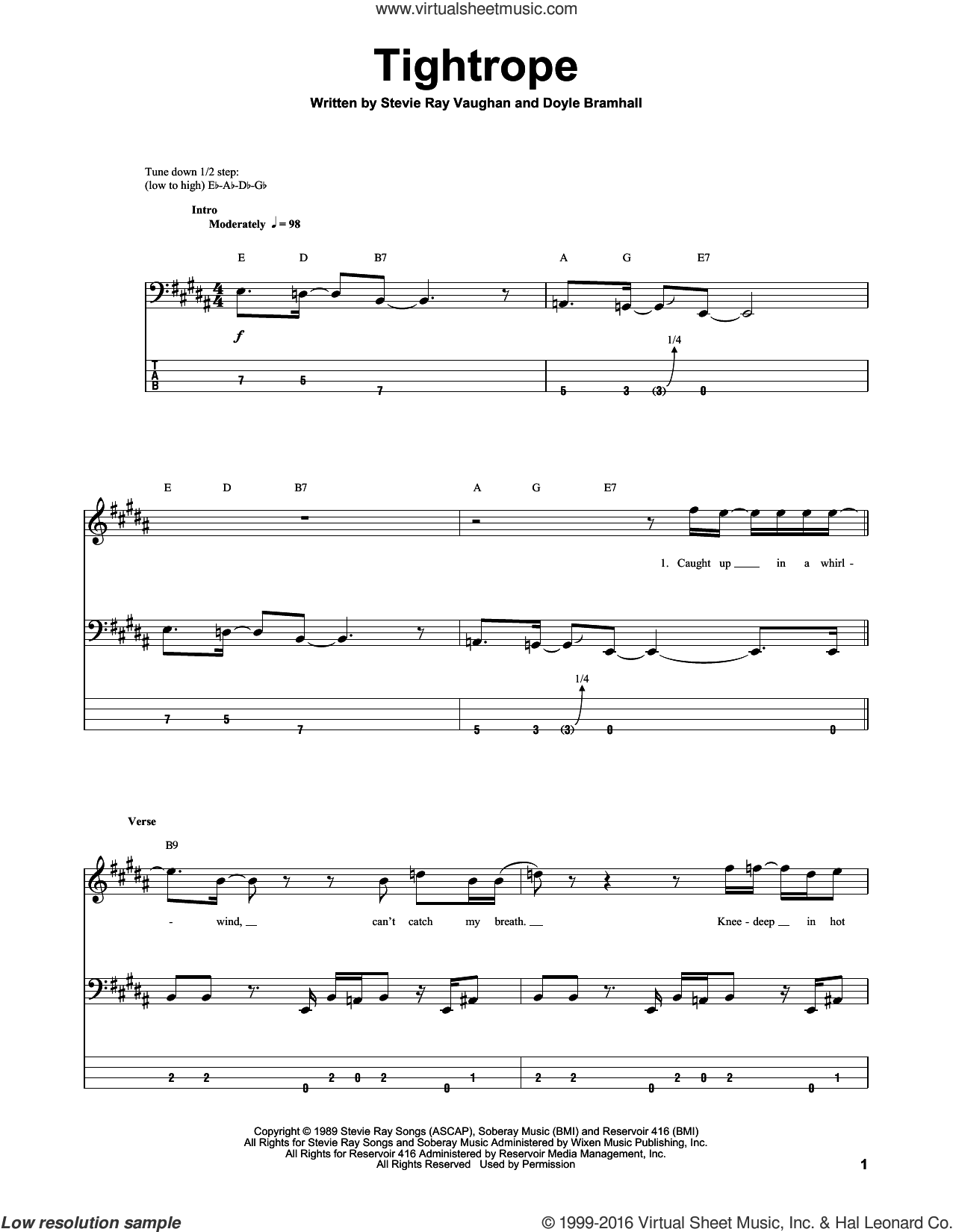 Tightrope sheet music for bass (tablature) (bass guitar) by Doyle Bramhall and Stevie Ray Vaughan. Score Image Preview.