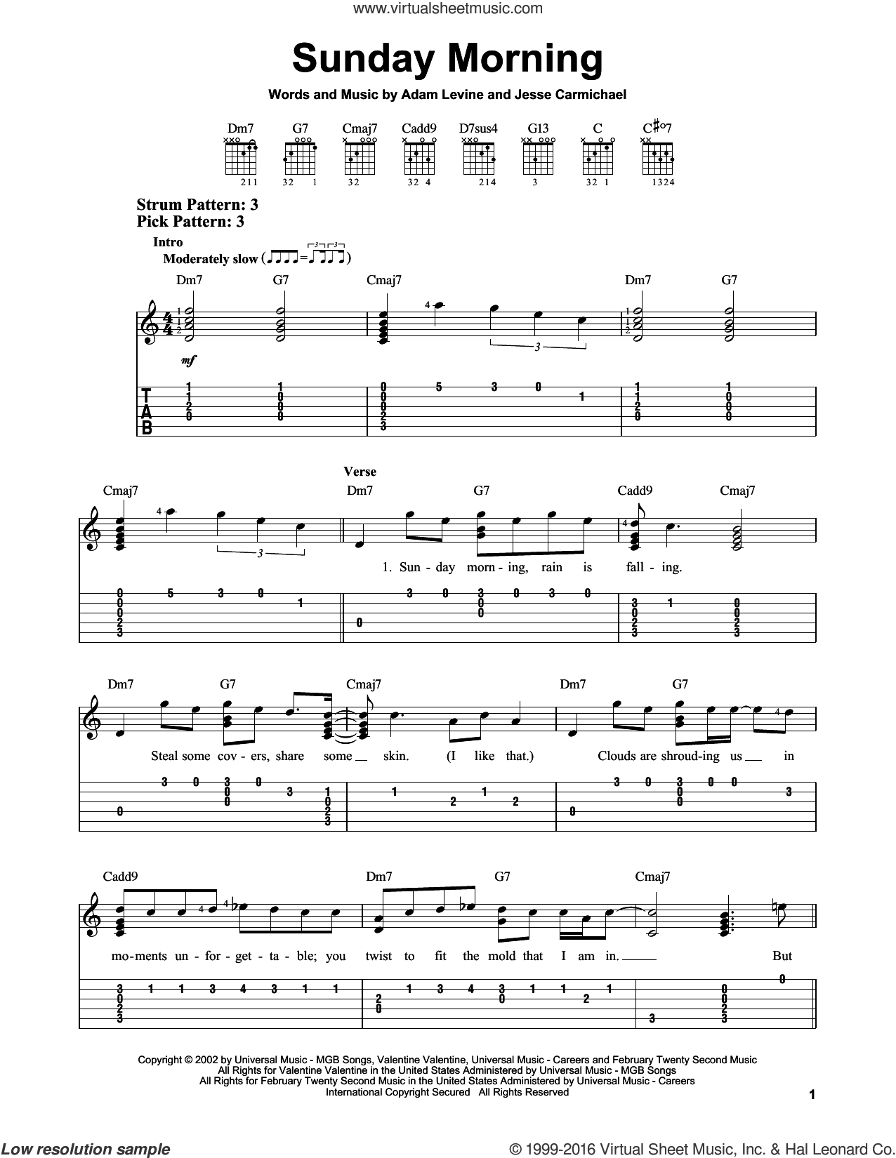 Sunday Morning sheet music for guitar solo (easy tablature) by Jesse Carmichael, Maroon 5 and Adam Levine. Score Image Preview.