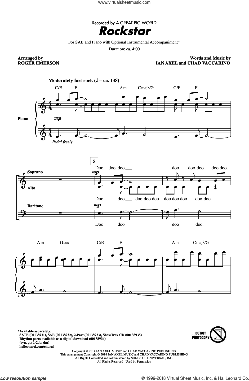Rockstar sheet music for choir (SAB) by Roger Emerson and A Great Big World, intermediate choir (SAB). Score Image Preview.