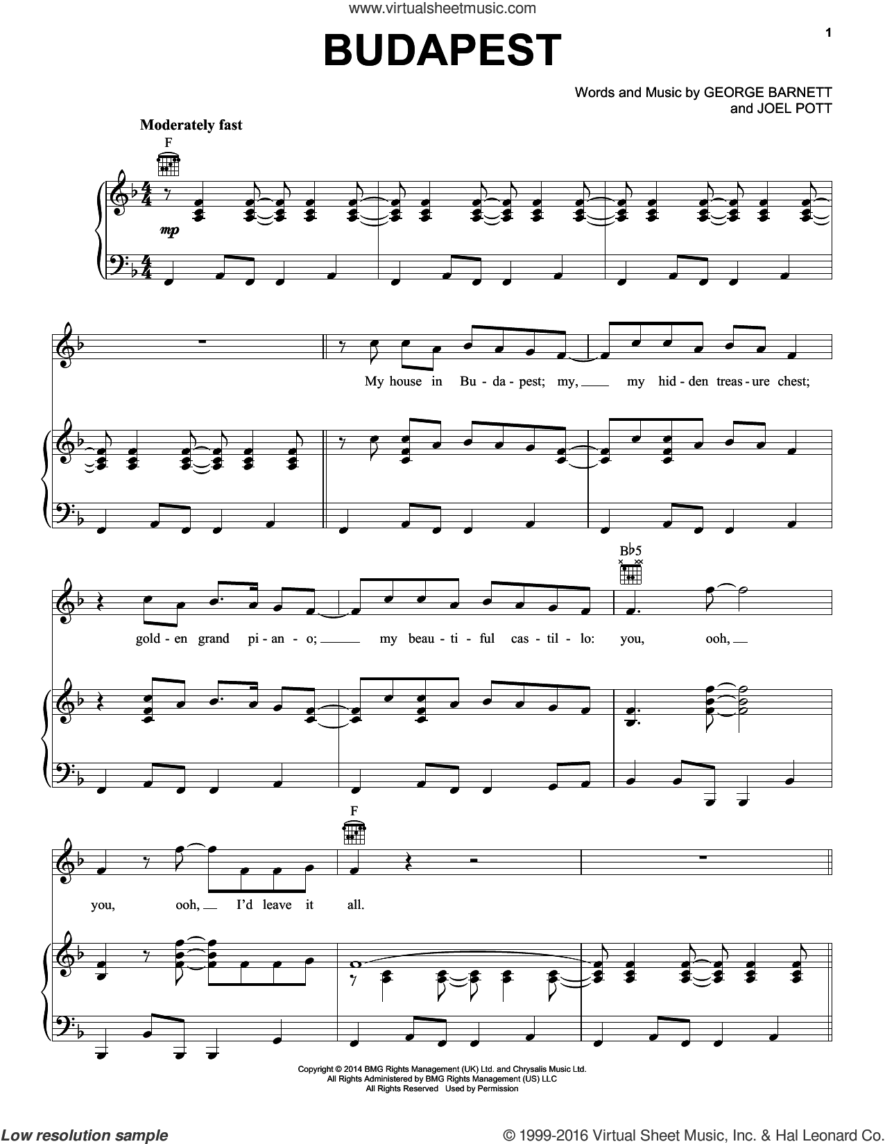 Budapest sheet music for voice, piano or guitar by Joel Pott. Score Image Preview.