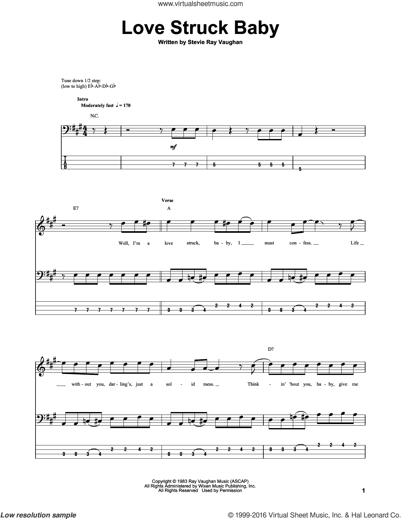 Love Struck Baby sheet music for bass (tablature) (bass guitar) by Stevie Ray Vaughan, intermediate skill level