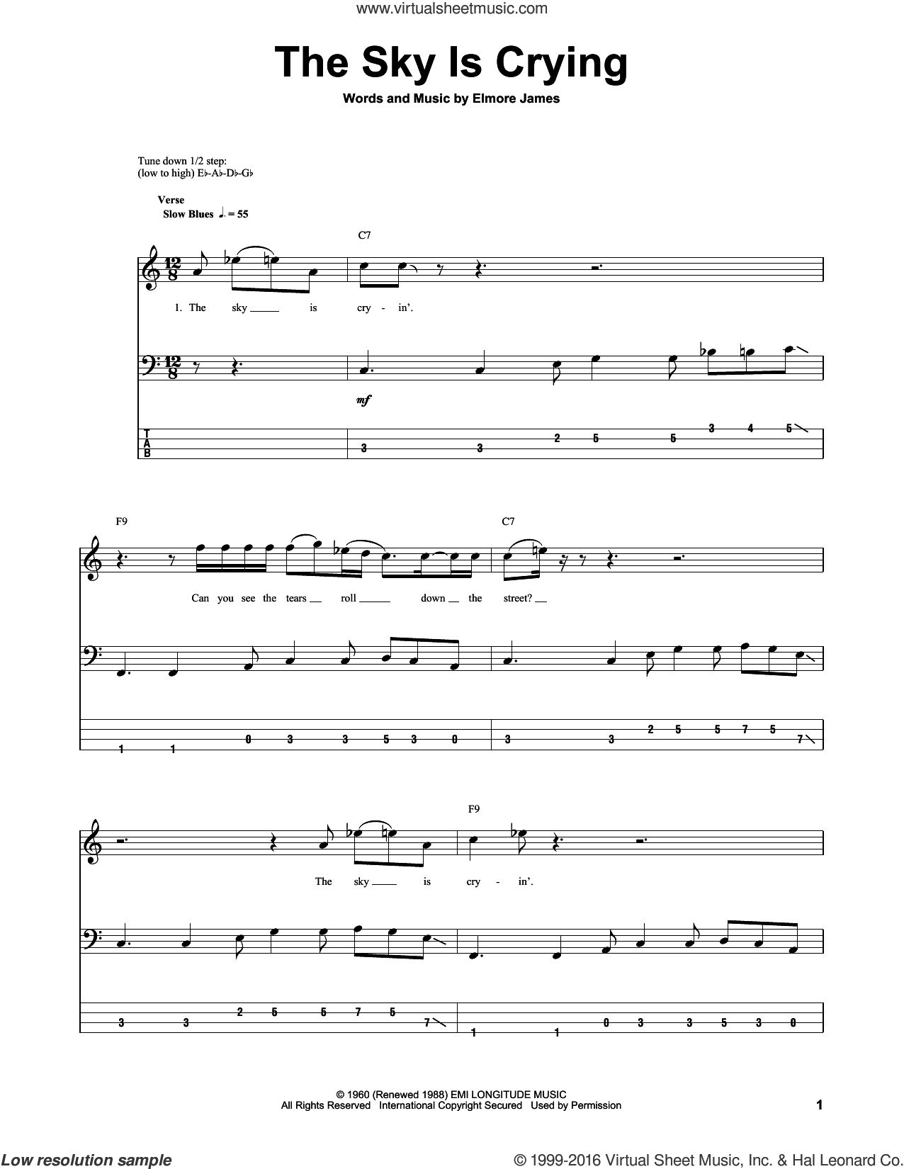 The Sky Is Crying sheet music for bass (tablature) (bass guitar) by Stevie Ray Vaughan, Eric Clapton and Elmore James, intermediate skill level