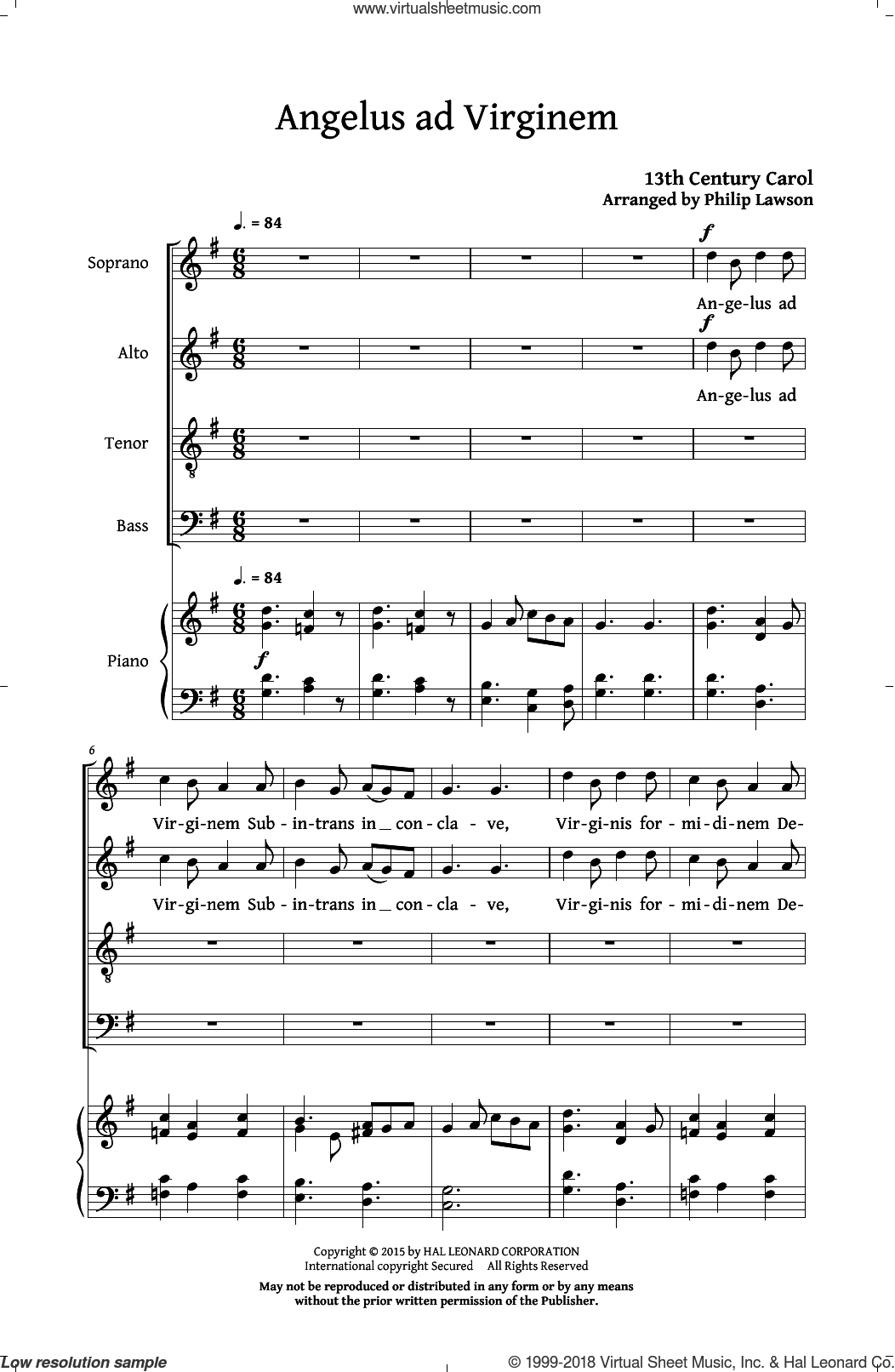 Angelus Ad Virginem sheet music for choir (SATB: soprano, alto, tenor, bass) by Philip Lawson and 13th Century Carol, intermediate skill level