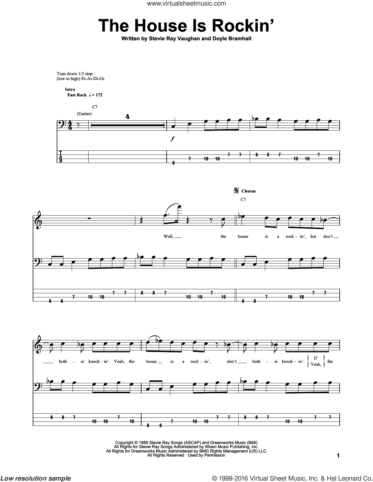 The House Is Rockin' sheet music for bass (tablature) (bass guitar) by Stevie Ray Vaughan and Doyle Bramhall, intermediate skill level