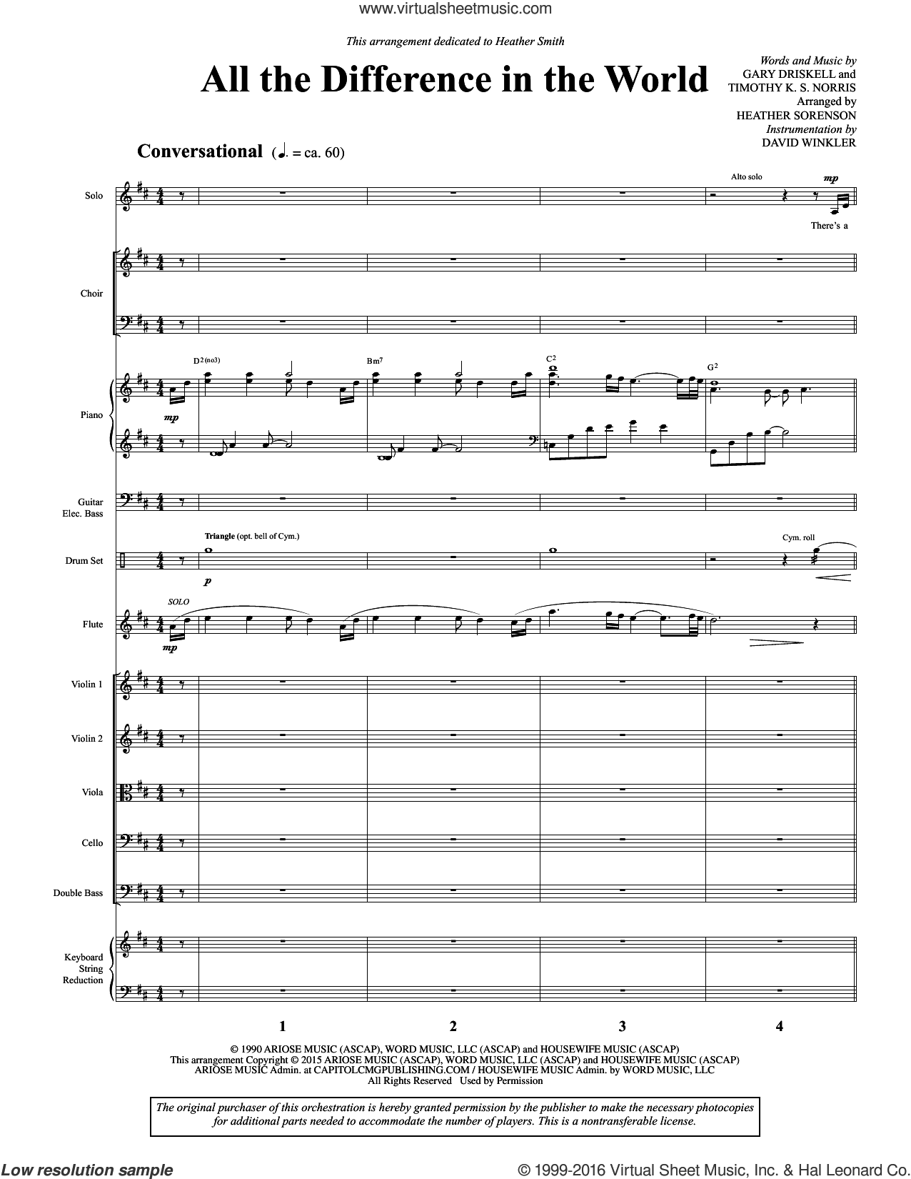 All the Difference in the World (COMPLETE) sheet music for orchestra by Heather Sorenson, intermediate orchestra. Score Image Preview.