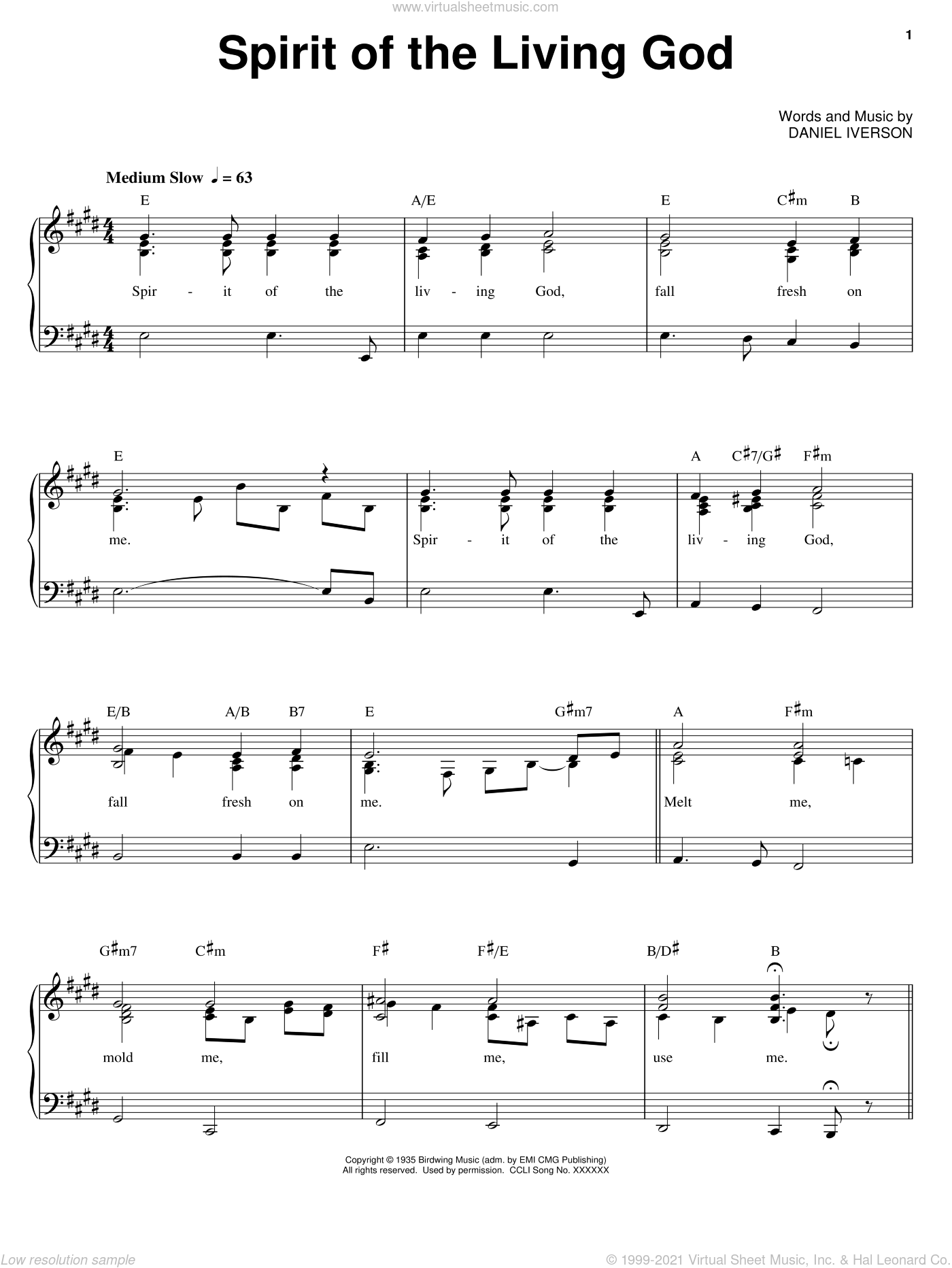 Spirit Of The Living God sheet music for voice, piano or guitar by Daniel Iverson. Score Image Preview.