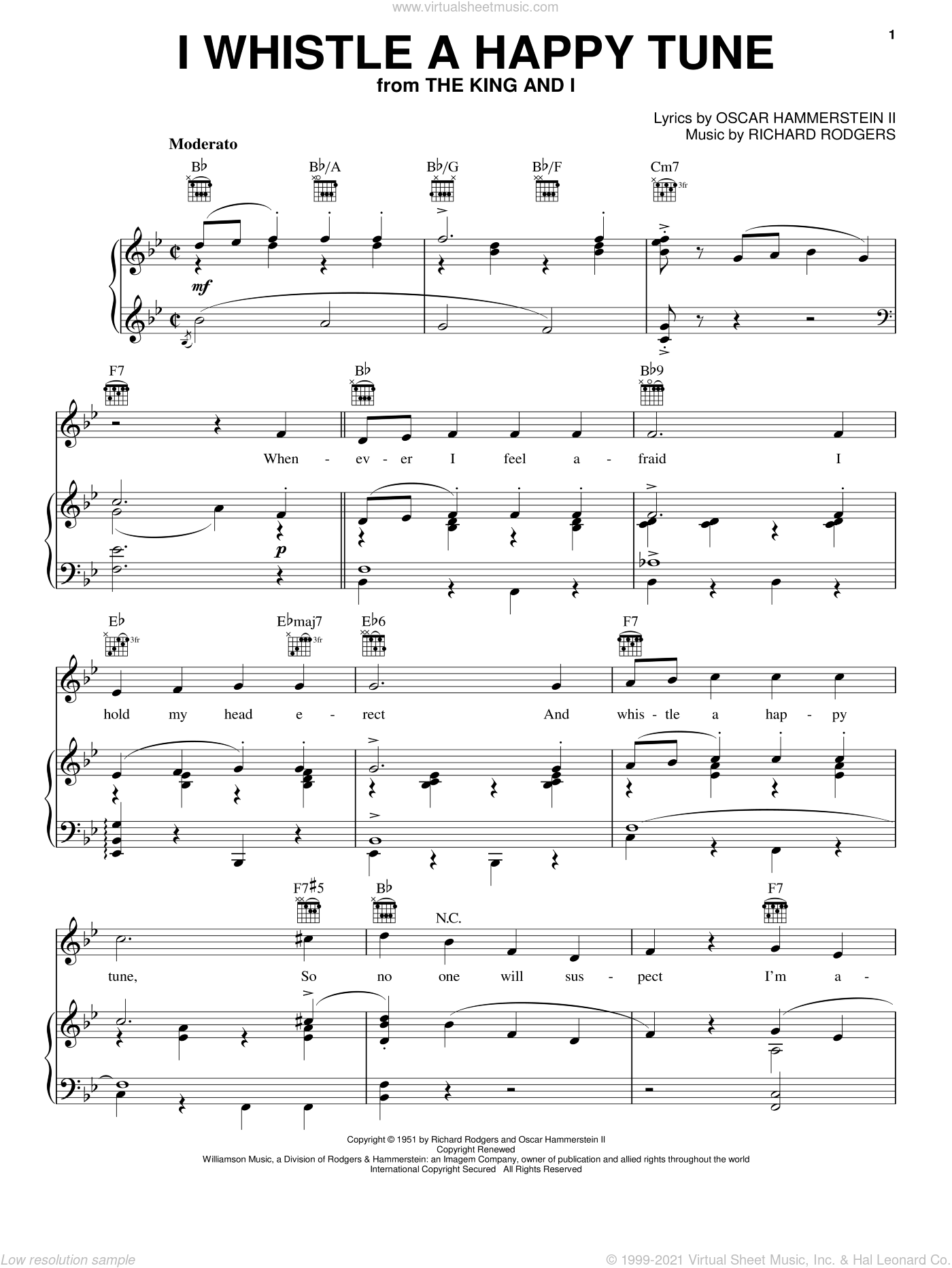 I Whistle A Happy Tune sheet music for voice, piano or guitar by Rodgers & Hammerstein, The King And I (Musical), Oscar II Hammerstein and Richard Rodgers, intermediate skill level