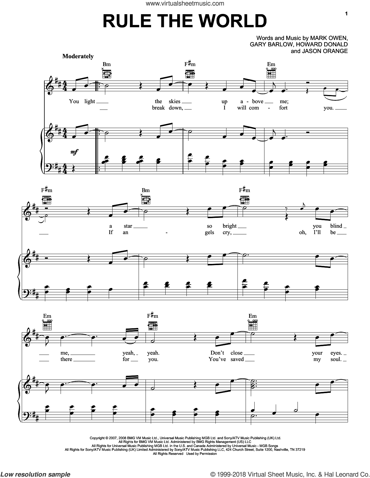 Rule The World sheet music for voice, piano or guitar by Take That, Gary Barlow, Howard Donald, Jason Orange and Mark Owen, intermediate skill level