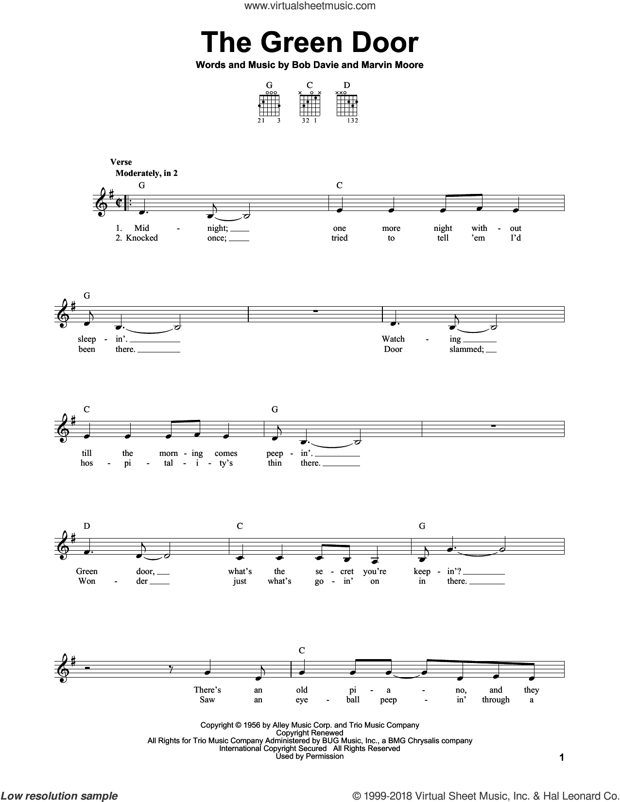 The Green Door sheet music for guitar solo (chords) by Jim Lowe. Score Image Preview.