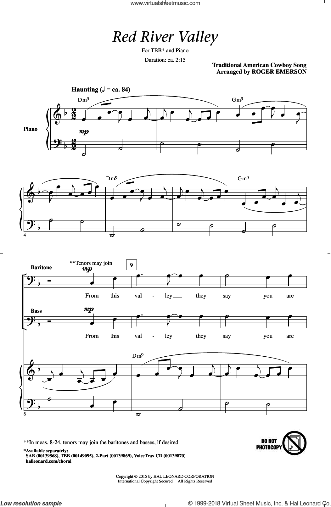 The Red River Valley sheet music for choir (tenor voice, bass voice, choir) by Roger Emerson and Traditional American Cowboy So. Score Image Preview.