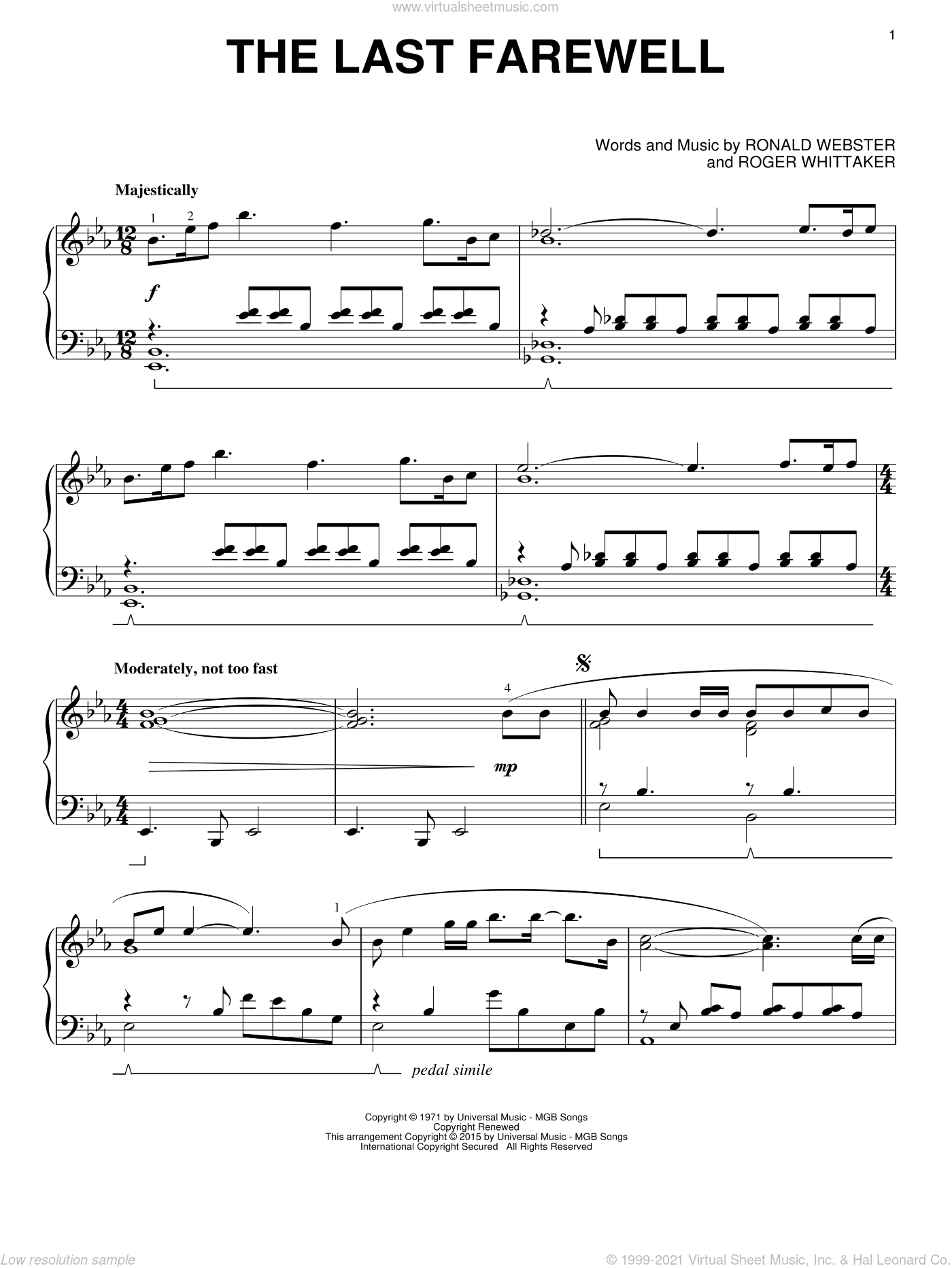 The Last Farewell sheet music for piano solo by Roger Whittaker and Ronald Webster, classical score, intermediate skill level