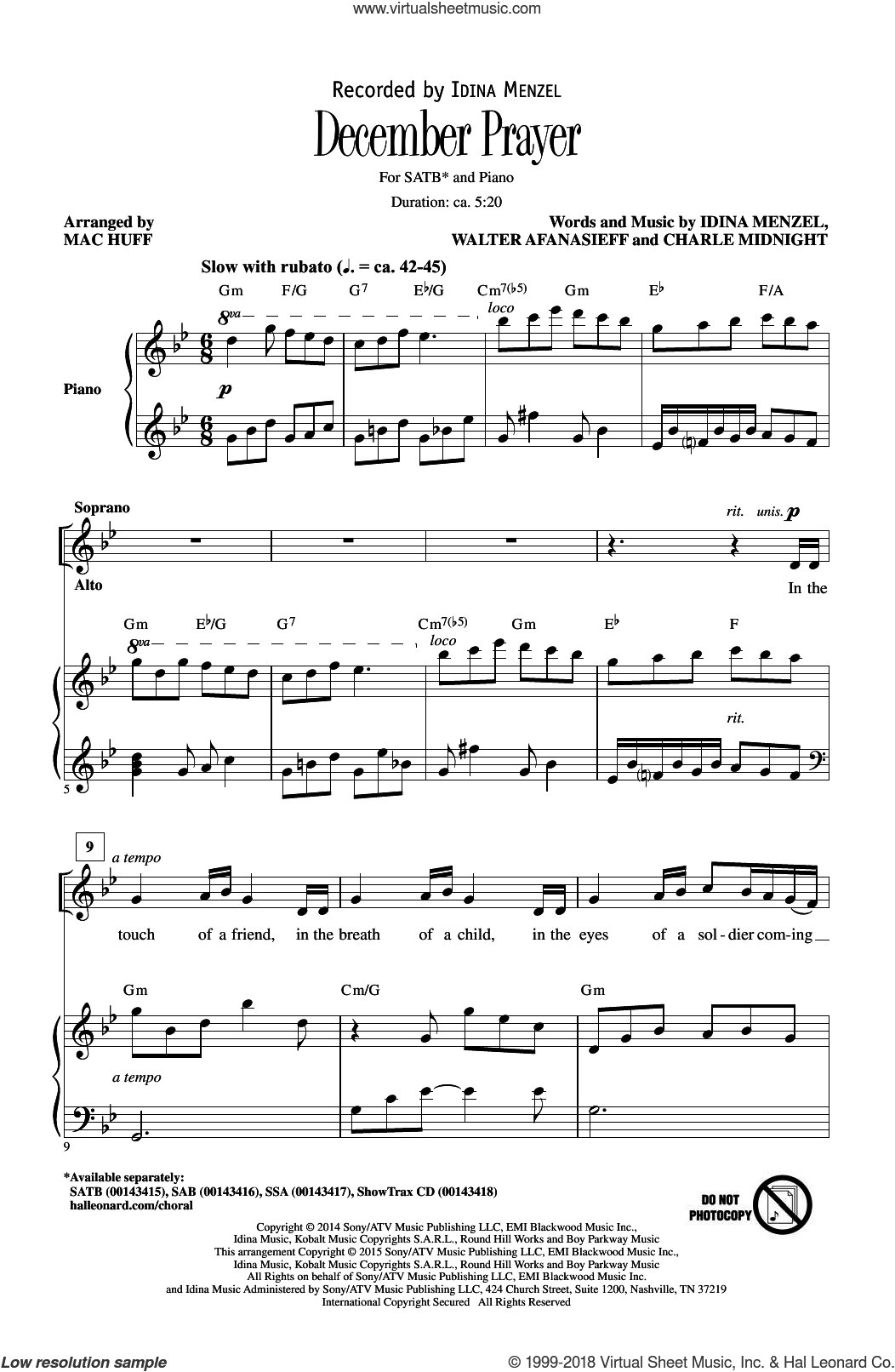 December Prayer sheet music for choir (SATB: soprano, alto, tenor, bass) by Idina Menzel, Mac Huff, Walter Afanasieff, Charlie Midnight and Walter Afansieff, intermediate