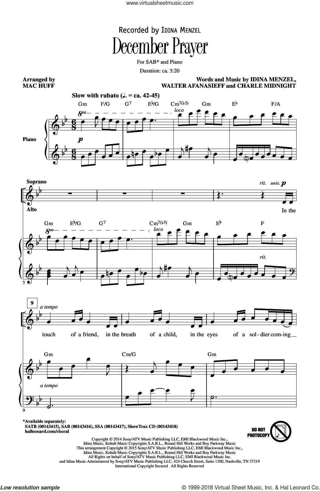 December Prayer sheet music for choir (SAB) by Walter Afansieff, Mac Huff, Walter Afanasieff, Charlie Midnight and Idina Menzel. Score Image Preview.