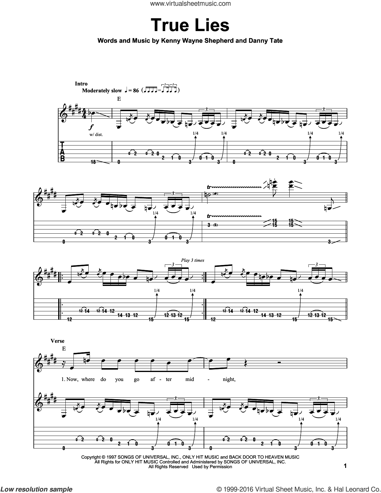 True Lies sheet music for guitar (tablature, play-along) by Kenny Wayne Shepherd, intermediate guitar (tablature, play-along). Score Image Preview.