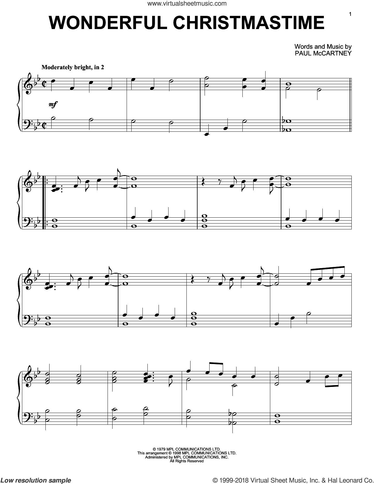 Wonderful Christmastime, (intermediate) sheet music for piano solo by Paul McCartney, intermediate skill level
