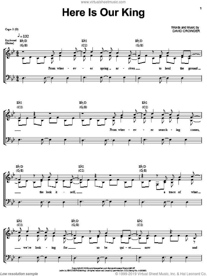 Here Is Our King sheet music for voice, piano or guitar by David Crowder Band and David Crowder, intermediate skill level