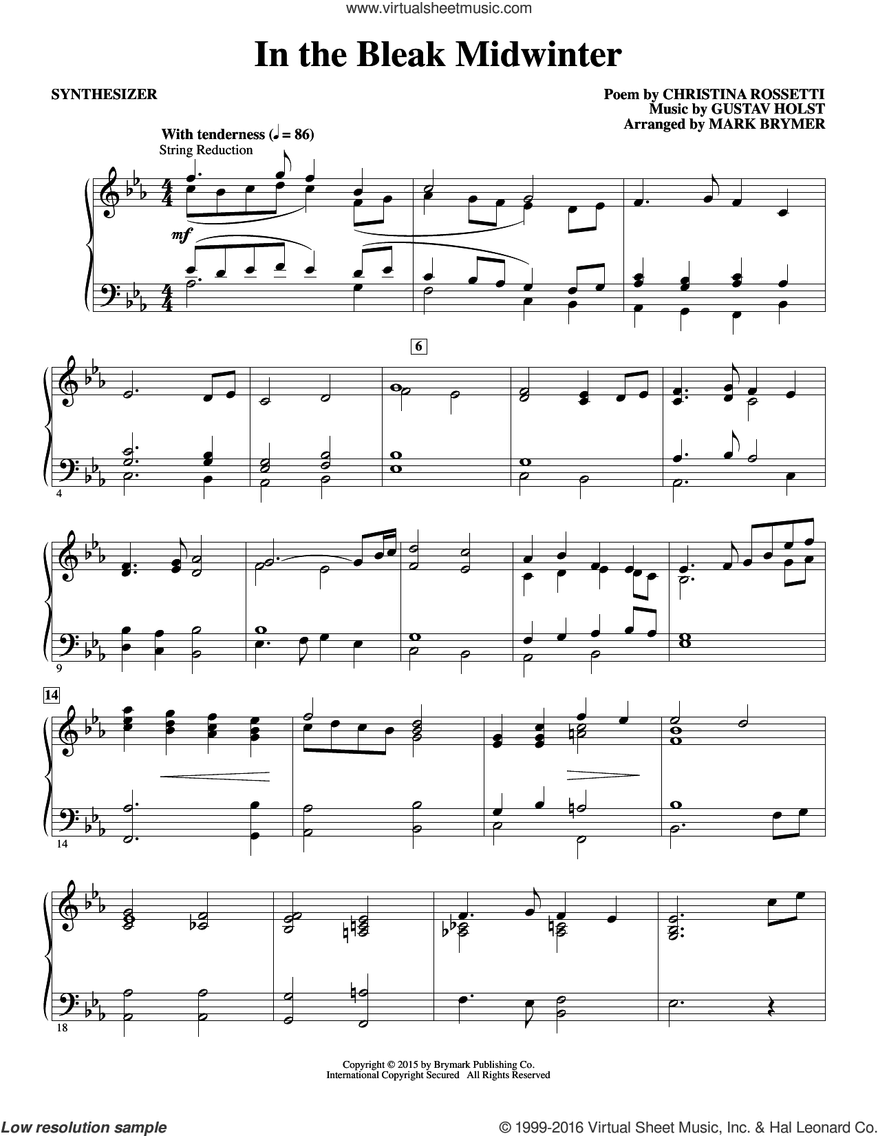 In The Bleak Midwinter (COMPLETE) sheet music for orchestra by Mark Brymer. Score Image Preview.
