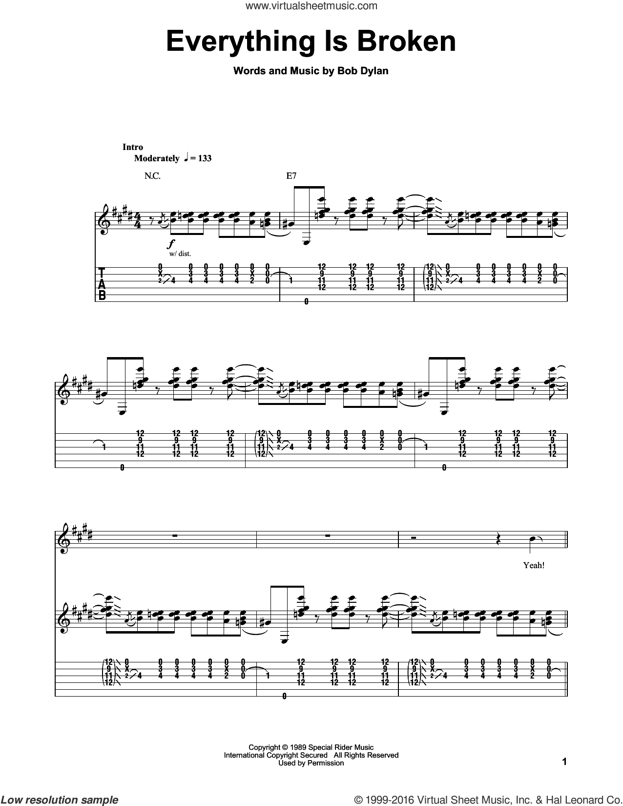 Everything Is Broken sheet music for guitar (tablature, play-along) by Bob Dylan and Kenny Wayne Shepherd. Score Image Preview.