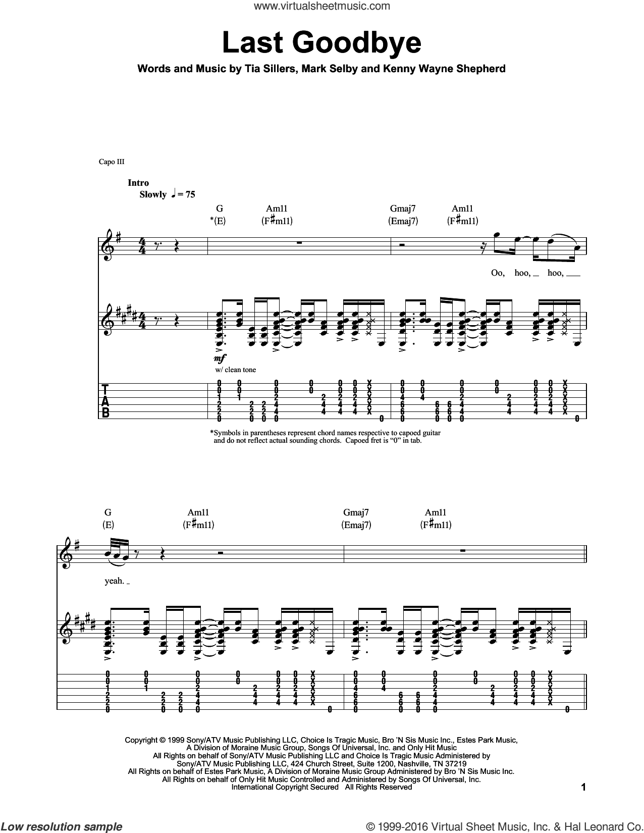 Last Goodbye sheet music for guitar (tablature, play-along) by Kenny Wayne Shepherd, intermediate. Score Image Preview.