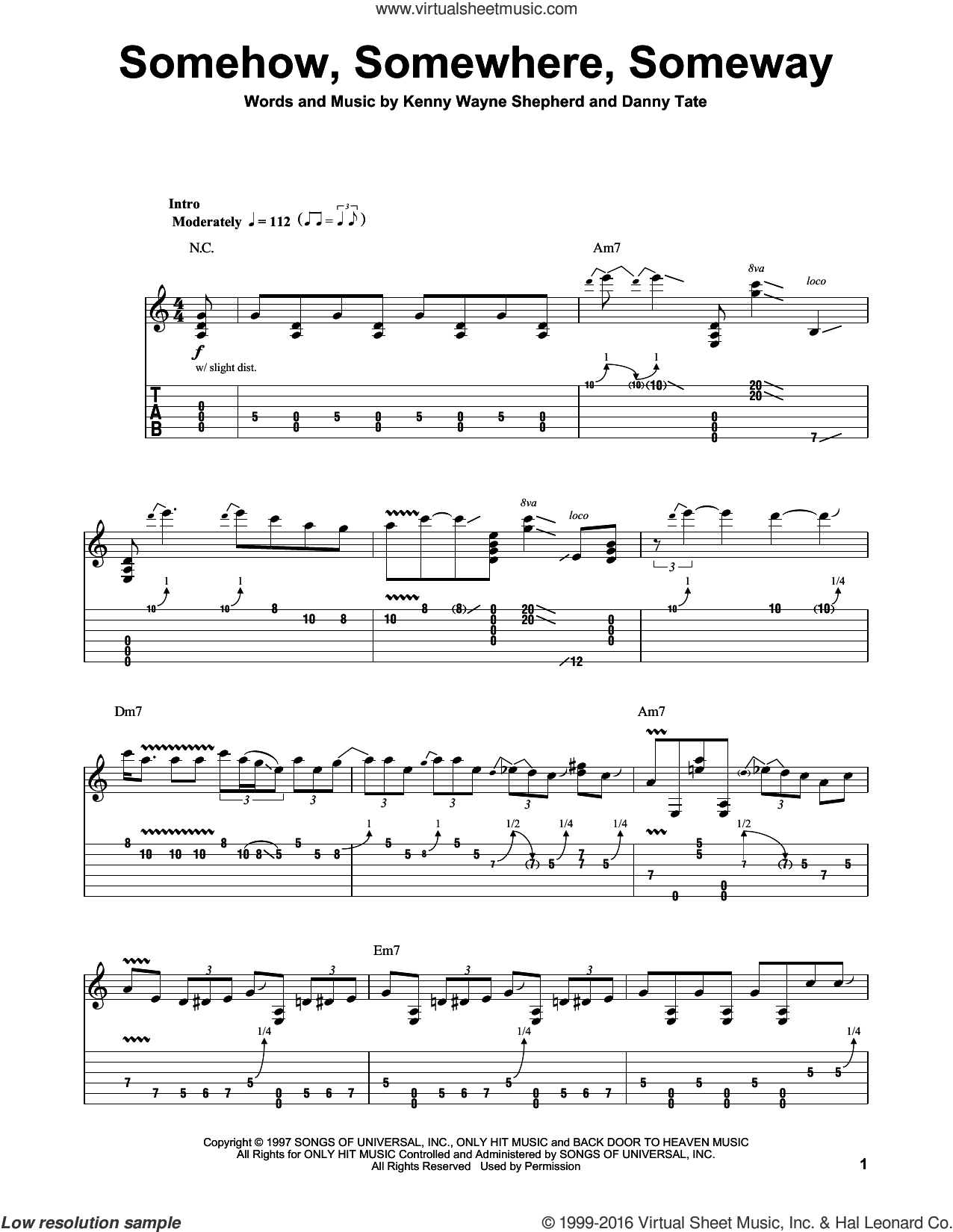 Somehow, Somewhere, Someway sheet music for guitar (tablature, play-along) by Danny Tate and Kenny Wayne Shepherd. Score Image Preview.
