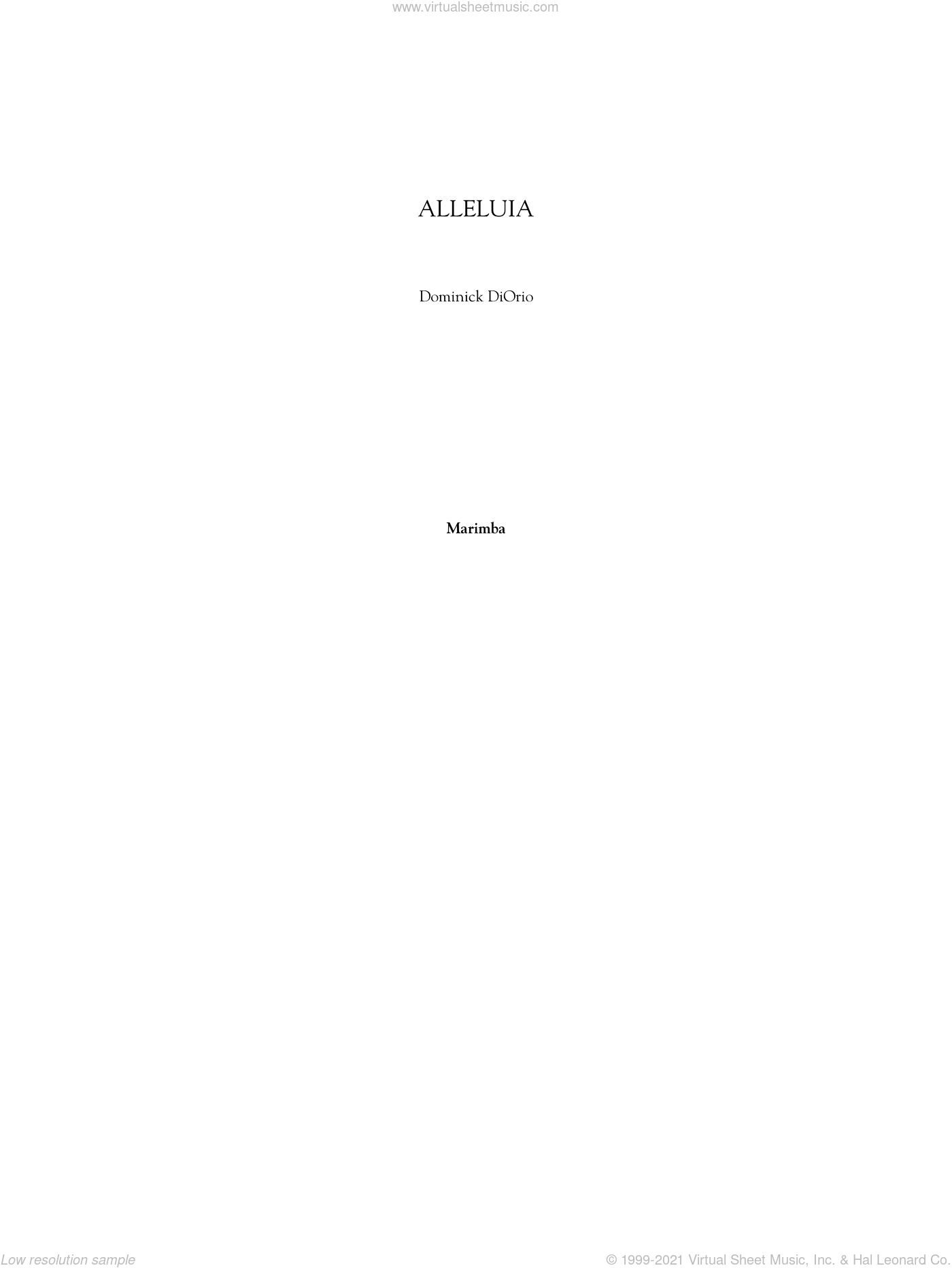 Alleluia sheet music for orchestra/band (marimba) by Dominick Diorio. Score Image Preview.
