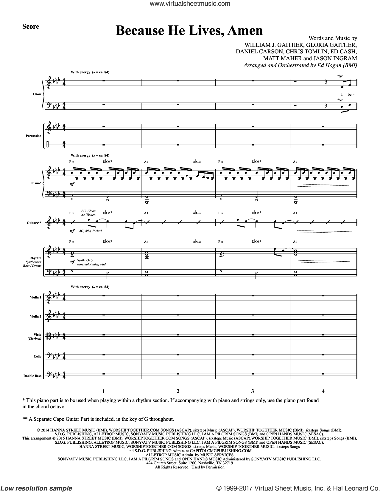 Tomlin - Because He Lives, Amen sheet music (complete collection ...