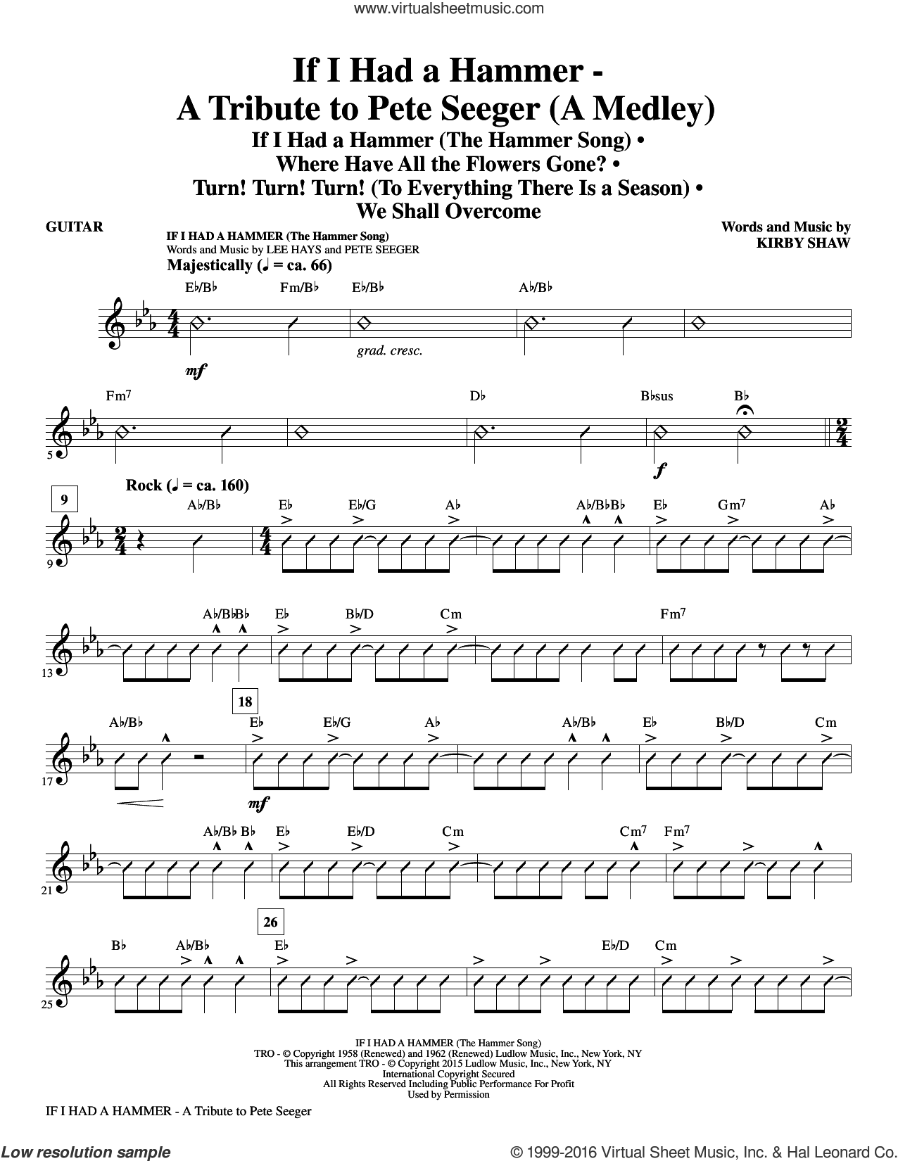 If I Had A Hammer, a tribute to pete seeger sheet music for orchestra/band (guitar) by Pete Seeger, Kirby Shaw, Peter, Paul & Mary, Trini Lopez and Lee Hays, intermediate. Score Image Preview.