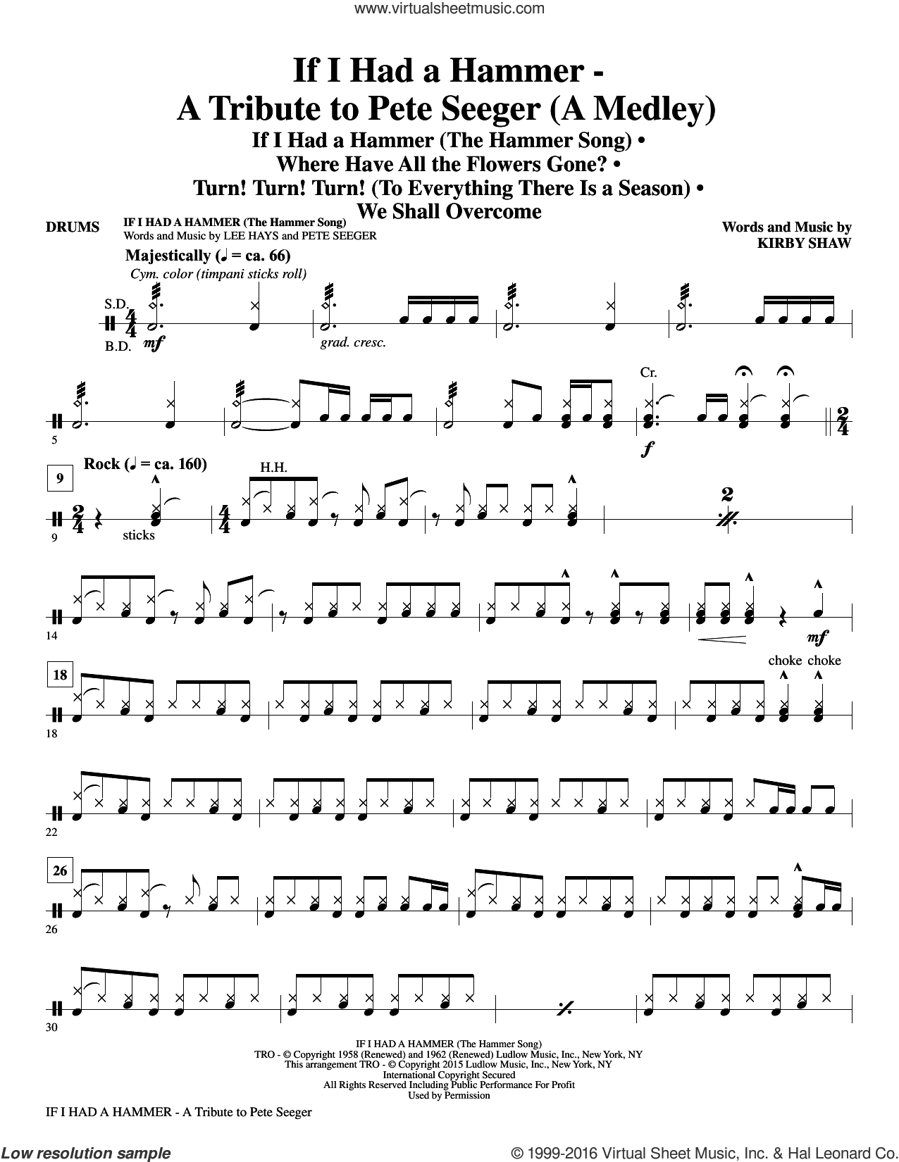 If I Had A Hammer, a tribute to pete seeger sheet music for orchestra/band (drums) by Pete Seeger, Kirby Shaw and Peter, Paul & Mary, intermediate. Score Image Preview.